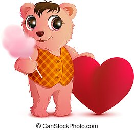Pink fun bear holds sweet cotton wool and heart shape. Valentines day