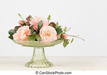 Pink garden rose arrangement