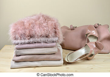 Pink Garments, Sandals and Bag