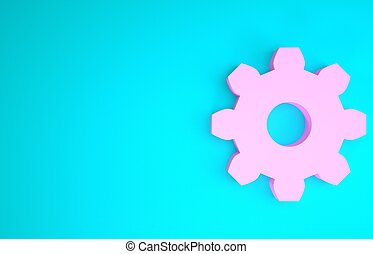 Pink Gear icon isolated on blue background. Cogwheel gear settings sign. Cog symbol. Minimalism concept. 3d illustration 3D render