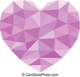 pink geometric heart on white background