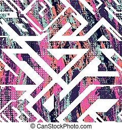 Pink geometric pattern with grunge effect