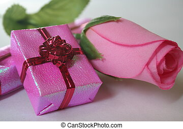 pink gift and flower