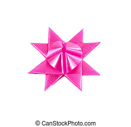 pink gift bow isolated on white background