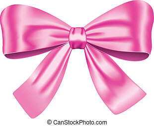 Pink gift bow isolated on white background. Vector ...