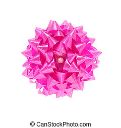 pink gift bow isolated on white with clipping path