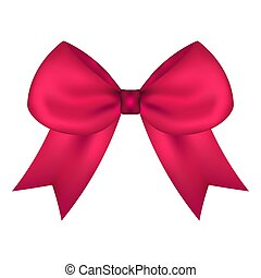 Pink gift bow of ribbon isolated on white