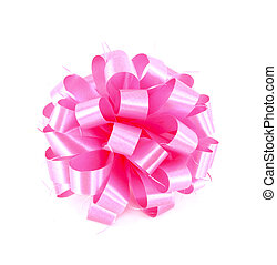 Pink gift bow on white background