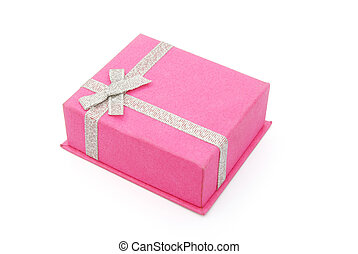 pink gift box closed on white background