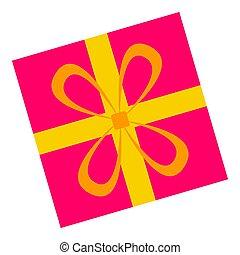 Pink gift box icon, flat style