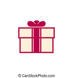 Pink Gift Box Isolated on White