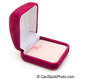 pink gift box opened on white background