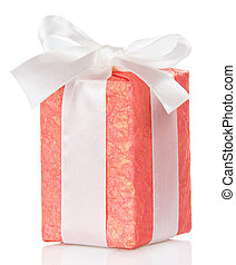 Pink gift box with a white ribbon