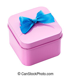 Pink gift box with blue bow on a white background.