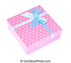 Pink gift box with blue bow