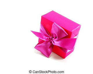 pink gift box with bow on white background