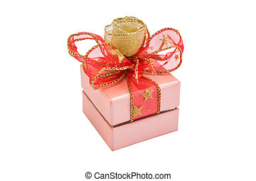 pink gift box with gold and red ribbon bow, isolated on white background with clipping path