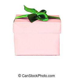 Pink gift box with green satin ribbon bow