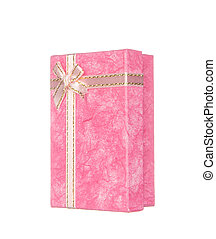 Pink gift box with ribbon and bow isolated on white