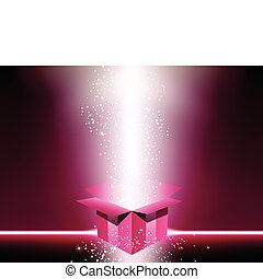 Pink gift box with stars. Editable Vector Image