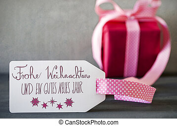 Pink Gift, Calligraphy, Frohe Weihnachten Means Merry Christmas
