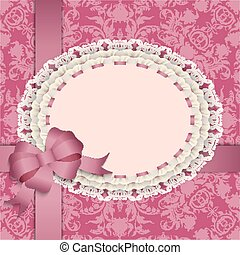pink gift card with lace, ribbons, silk bow