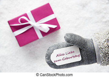 Pink Gift, Glove, Geburtstag Means Happy Birthday - Glove...