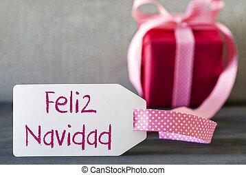 Pink Gift, Label, Feliz Navidad Means Merry Christmas -...