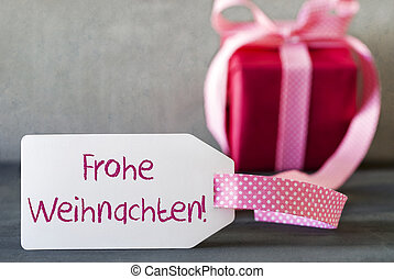 Pink Gift, Label, Frohe Weihnachten Means Merry Christmas