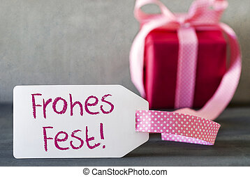 Pink Gift, Label, Frohes Fest Means Merry Christmas