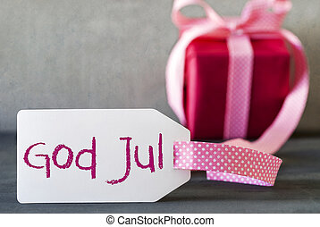 Pink Gift, Label, God Jul Means Merry Christmas