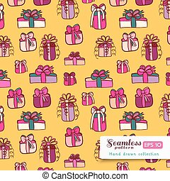 Pink gifts seamless pattern on yell