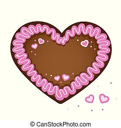 pink gingerbread heart with heart decoration vector...