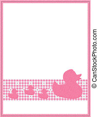 Pink Gingham Baby Frame for your message or invitation -...