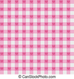 Pink Gingham Fabric with Hearts Background