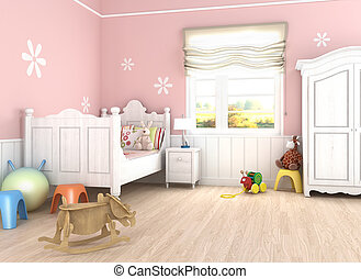 pink girl´s bedroom