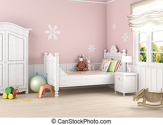 Girls´s room in pink walls with bed and toys on the floor