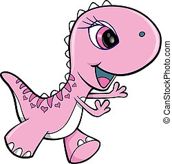 Pink Girl Dinosaur Animal Vector