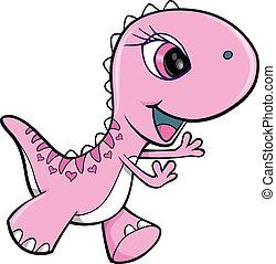 Pink Girl Dinosaur Animal Vector