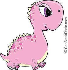 Pink Girl Dinosaur Vector Art