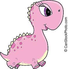 Pink Girl Dinosaur Vector Art