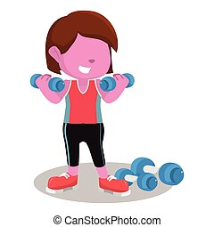 pink girl exercising with dumbell