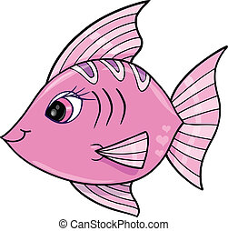 Pink Girl Fish Ocean Vector