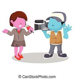 pink girl reporting news