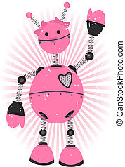 Pink Girl Robot with grunge