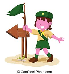 pink girl scout following the arrow sign