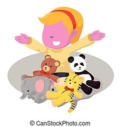 pink girl with her stuffed animal