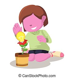pink girl with innovation plant