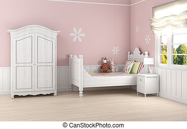 Pink girl's bedroom - Girl's room in pink walls with white...