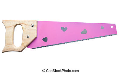 pink girls tools handsaw with hearts on it